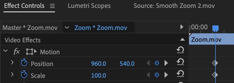 zoom effect controls