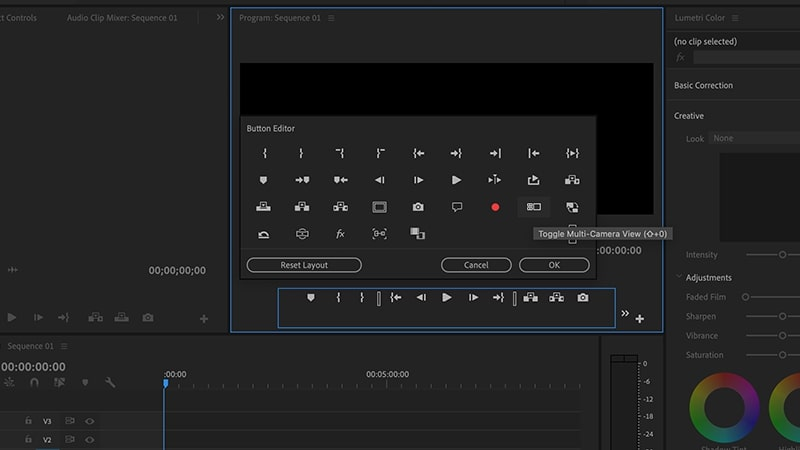 Select multi-cam editing icon