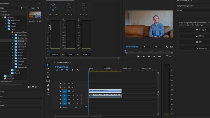 Premiere Pro audio workspace